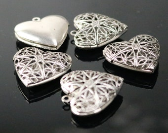 5 pcs Antique SILVER Heart Filigree Locket Pendant Charm - 25mm 1 inch 8mm thickness - Brass Locket Pendant Charm - Ship from California USA