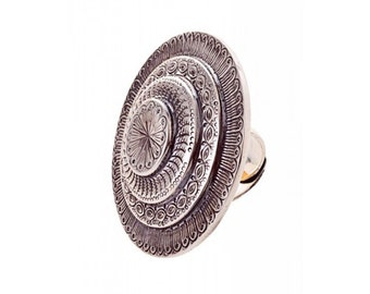 Silver-plated statement ring with ethno style chasings, Gypsy style Ring, Silberring mit Zieselierungen