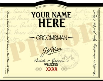 PERSONALIZED LABEL of Wiser's for Groomsmen