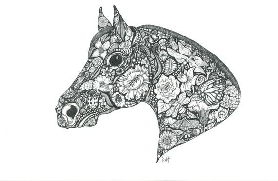 Zen Line Drawing : Items similar to zen horse illustration animal art design