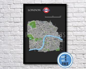 London map print, london city map illustrated