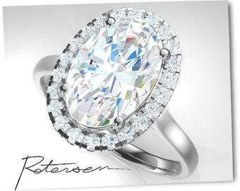 3+ Carat Moissanite Engagement Ring wedding ring - promise ring diamond halo Ring - Moissanite wedding ring - Moissanite promise ring