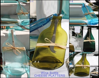 CHEESE PLATTER **Upcycled** kiln flattened glass bottle with a stylish cheese knife **SET** Choose from extensive list.