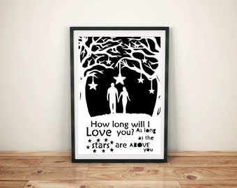 How Long Will I Love You print, gift for anniversary, first anniversary gift, papercut, wife gift, husband gift, instant download