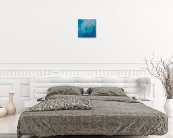 W4VE - Wave Original Acrylic Painting on Canvas with Blue White Sea 30 X 30 X 1,5 cm