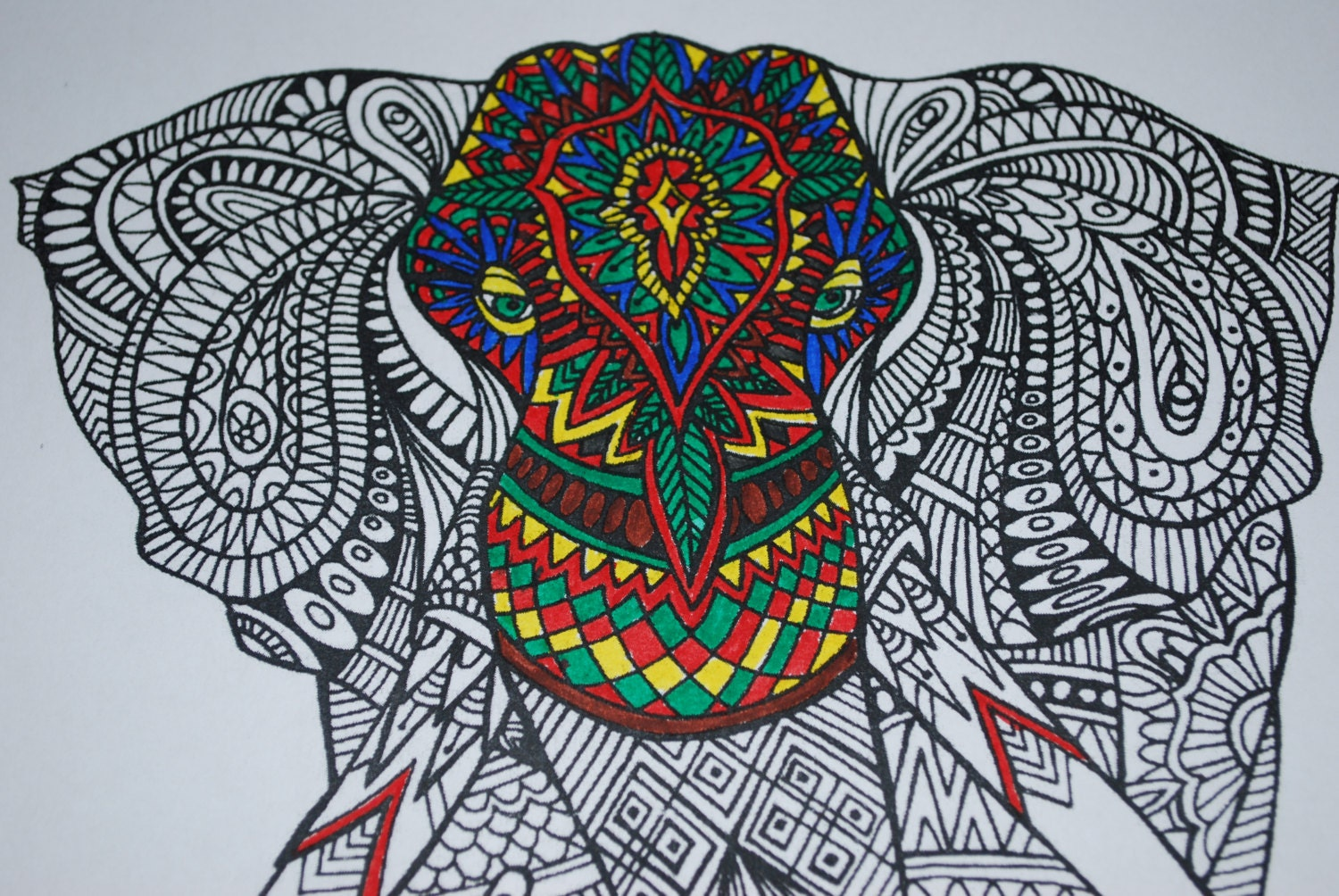 free zentangle elephant coloring pages - photo#23