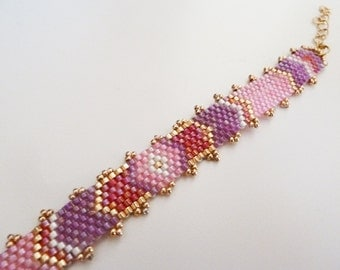 Bohemian chic bracelet cuff woven Golden and pink plum