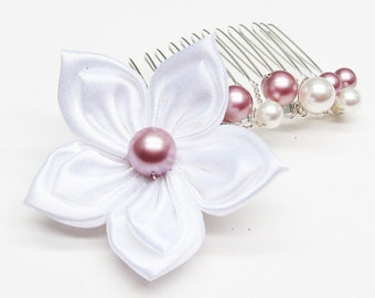 Hair comb wedding white satin flower and white pearls and pink swarovski crystal, wedding, Bridal hair accessory