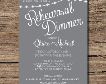 Rehearsal Dinner Invitation with Lights {casual} {outdoor}