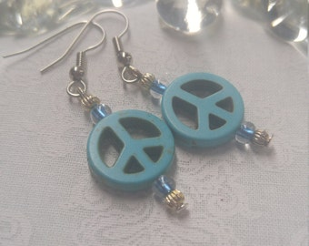 Light Blue Peace Sign Earrings