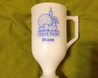 Vintage Cedar Point Mom Milk Glass Mug