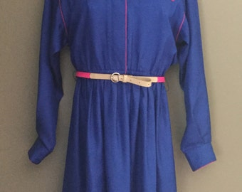 Vintage 1980s does 1950s Blue & Pink Leslie Fay Long Sleeve Day Dress