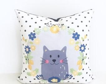 Nursery Pillow | Cat Pillow | Kitty Cat Pillow | Nursery Decor