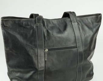 Large Black Leather Shopper Tote Bag by Camden LeatherWorks