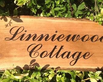 Large Engraved Rustic Waney edge Oak House Sign