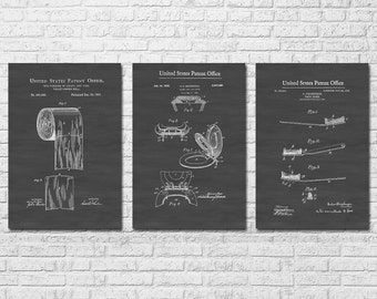 Bathroom Patent Collection of 3 - Patent Prints, Bathroom Decor, Bathroom Art, Bathroom Poster, Bathroom Sign, Toilet Art, Restroom Decor