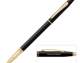 Personalized Cross Classic Century Gift Rollerball Pen, Satin Black, Executive Gift, Groom Gift,  Free USA Shipping