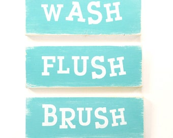 Bathroom set of 3 signs// funny// cute // wash flush brush // kids decor // reminder // baby shower gift // gift idea // house warming //