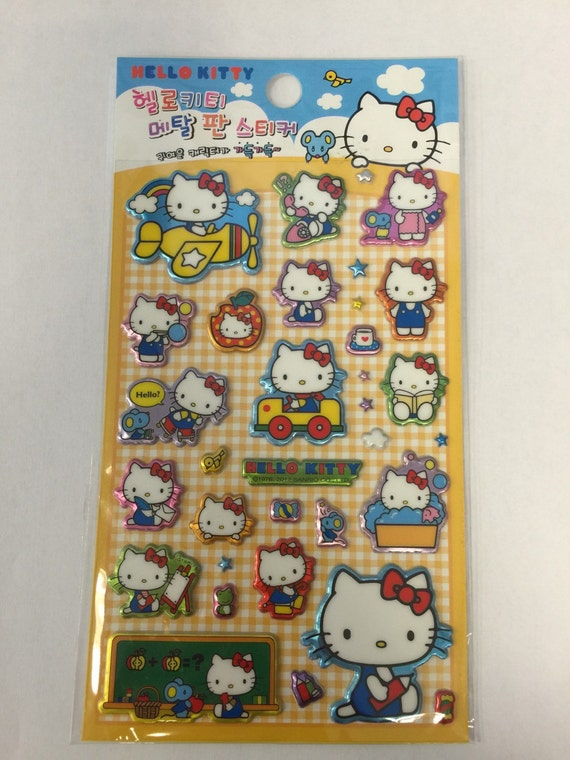 SALE Sanrio Hello Kitty Foil 3D Sticker Sheet Planner Yellow