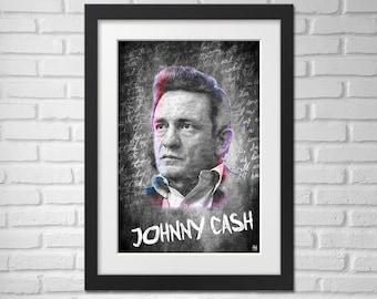 Johnny Cash Poster - Illustration / Johnny Cash Music Poster