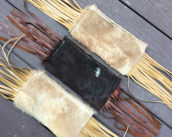 Goat Leather fringed Clutch