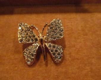 Vintage Rhinestone Napier butterfly pin/brooch; butterfly brooch, rhinestone butterfly brooch
