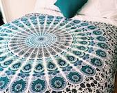 Blue mandala tapestry beach throw - Azure Dreams