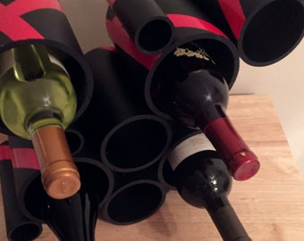 Custom Contemporary Wine Rack, Handmade