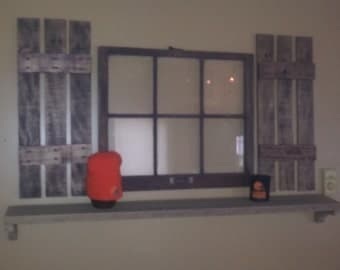 Window picture frame with shutters and shelf