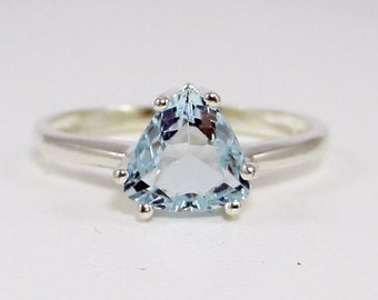 Aquamarine Trillion Ring, 925 Sterling Silver, March Birthstone Ring, Trillion Aquamarine Ring, Sterling Silver Ring