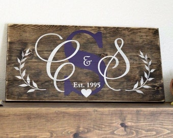 Handmade home decor rustic custom wood sign on stained wood