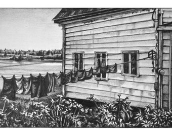The Farmhouse, Nova Scotia - Signed Giclee Print of Pencil Drawing