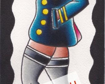 "ORIGINAL! Tattoo Flash ""Navy girl"" Pat BASTARD!"