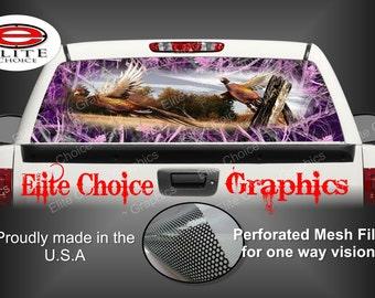 Ringneck Pheasant Tallgrass Pink Camo Rear Window Graphic Tint Decal Sticker Truck SUV Van Car