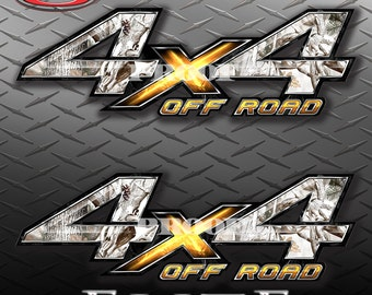 4x4 Off Road Obliteration Buck Snow Camo Camouflage Truck Bed Vinyl Decal Sticker - PAIR