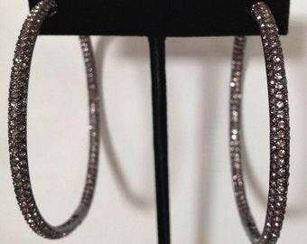 Large hoop swarvoski cystal earring. Large rhinestone hoop. Elegant Rhinestone Hoop