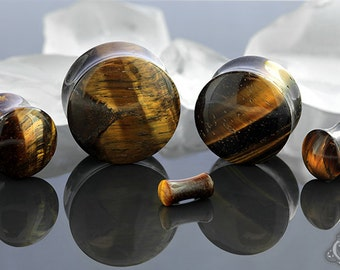 """DF Yellow Tiger's Eye stone plug 6g, 4g, 2g, 0g, 00g (9.5mm), 7/16"""", 1/2"""" (13mm), 9/16"""", 5/8"""", 3/4"""", 7/8"""", and 1"""""""