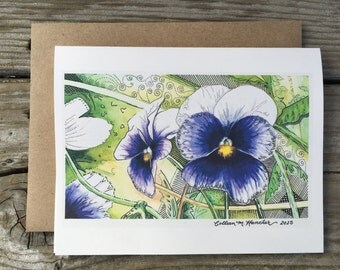 Watercolor Pansy Notecards - 5 designs, set of 10