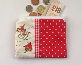 Cath Kidston Mini Cowboy zip coin purse red and white spot gingham zippered pouch Oyster card holder