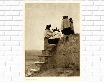 Watching the Dancers, Hopi, Pueblo, Edward Curtis, 1906, Photo, Print - Photography, Vintage, Native American, Photograph, Tewa, History