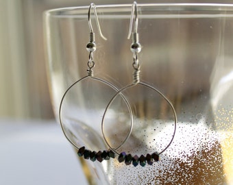 Silver hoop wire earrings with iridescent beads