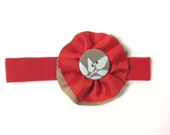 Red and Beige Baby Girl Headband