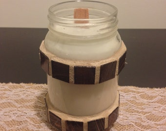 Pint Mason Jar Hand Poured Mosaic Soy Wax Candle with Wood Wick