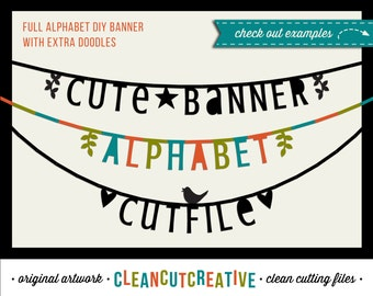 Cute Banner SVG Alphabet svg banner svg bunting svg garland svg text svg font svg letters - DXF EPS Silhouette Cricut - clean cutting files