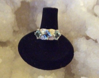 Ice Blue Topaz Princess Cut Silver Ring size 8