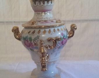 Vintage Russian porcelain - GZHEL samovar
