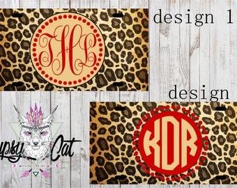 Monogram Cheetah License Plate , License Plate , Car Tag