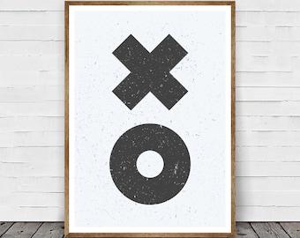 XO Print, XOXO Print, Hugs and Kisses Art, Best Selling Items, Minimalist Print, Xo Wall Art, Xo Home Decor, Contemporary Print, Printable