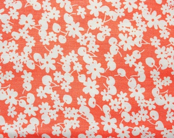 Floral Fabric, Japanese Fabric, Cotton Fabric, Extra Wide Fabric, White Cherry and Little Flowers on Peach, Quilting Patchwork, Half Metre