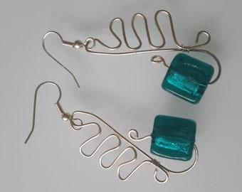 Lampwork Teal with Wirework Earrings